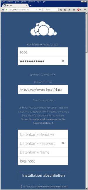OwnCloud-Installationsfenster